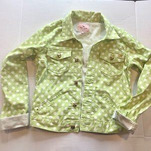 Juicy Couture Lime Green Polka Dot Denim Jacket